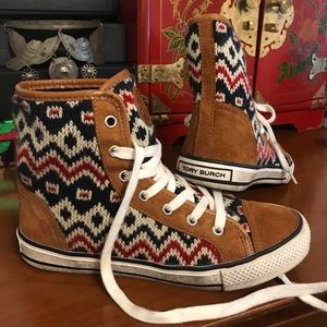 -TORY BURCH- knit and suede high top sneaker